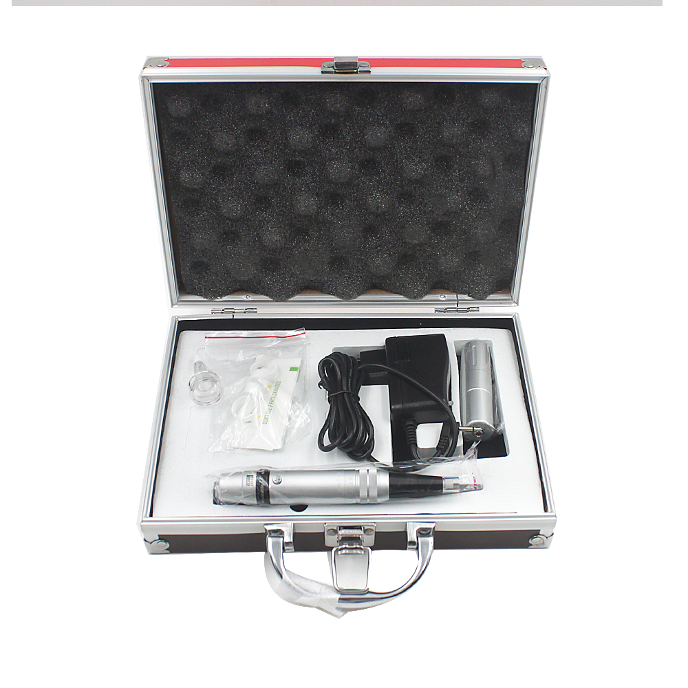 Top Aluminium Alloy Permanent Makeup Machine Complete Kit Eyebrow Tattoo Pen Power Supply Set with Needles professional permanent makeup tattoo eyebrow pen machine 50 needles tips power supply set us plug drop shipping wholesale