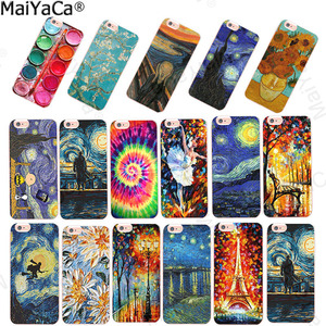 MaiYaCa For coque iPhone X XS XR 6s 5s 8 7 plus case Scream by Munch Van Gogh Starry Night sun Flower Star Scenery Palette funda(China)