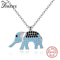 FOREWE AAA 100% Silver 925 Necklace Sky Blue Crystal Animal Elephant Necklace Sterling Silver Necklaces & Pendants Drop Shipping