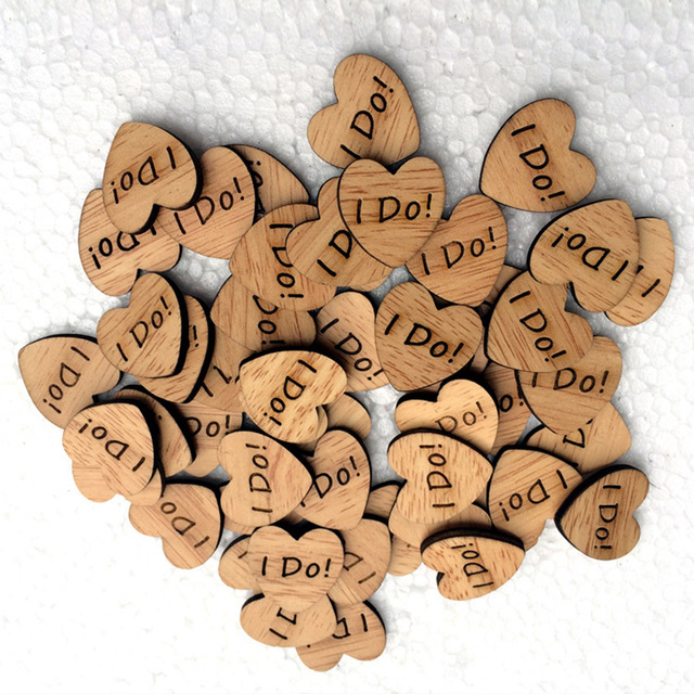 50pcs Heart Shaped letters Wooden Slices Wedding DIY Crafts Photo Props Wedding Decorations