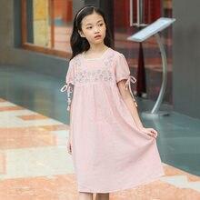 b768b7135 2019 túnica de verano para niñas de 12 años manga linterna vestido de niña  niños vestidos de princesa ropa Rosa flor
