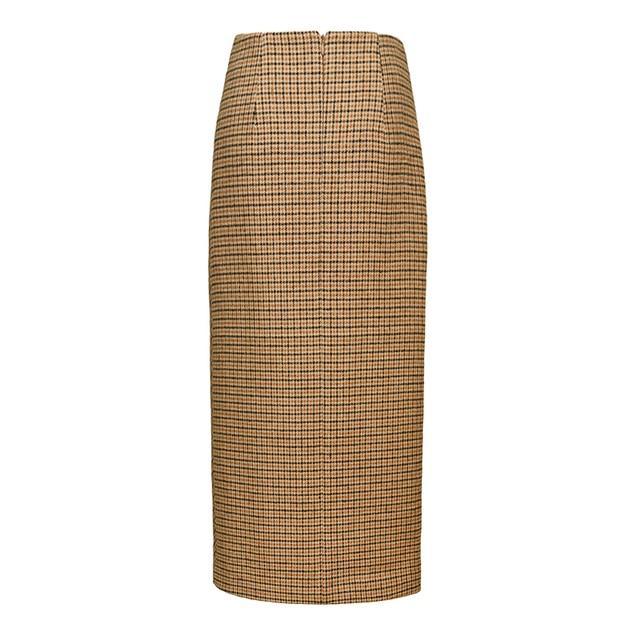 AEL Retro Female Hight Waist Asymmetry Woolen Midi Skirt Wrap New Plaid Women Clothing Vintage Fashion Jupe Longue Femme Slim 4