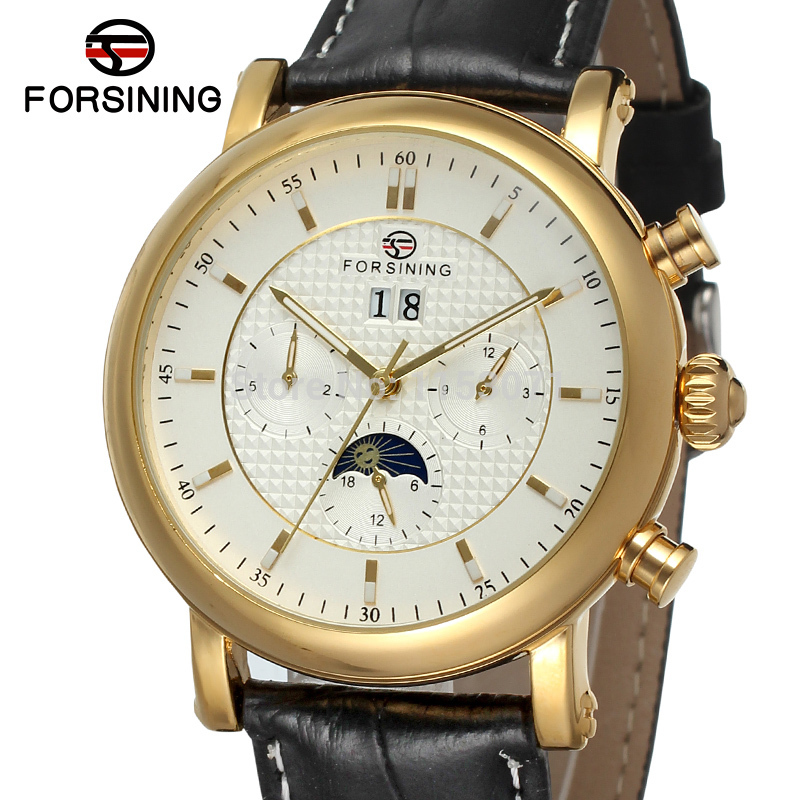 FSG553M3G1  new arrival   Automatic men watch with moon phase  luxury  black genuine leather strap free shipping with  gift box ultra luxury 2 3 5 modes german motor watch winder white color wooden black pu leater inside automatic watch winder
