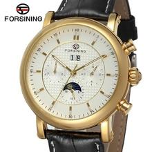 FSG553M3G1 новое прибытие Автоматические мужчины часы с фазы луны роскошный черный кожаный ремешок бесплатная доставка с подарочной коробке