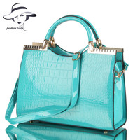 2013 Fashion Spring And Summer Crocodile Pattern Japanned Leather Patent Leather Handbag One Shoulder Cross Body