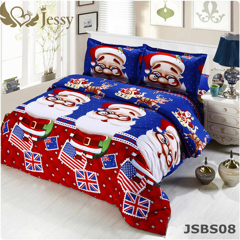 For Merry Christmas Christmas Gift Set 3/4Pcs Christmas Santa Clause 3D Bedding Set Duvet Cover Bed Sheet Pillowcase Sham Covers