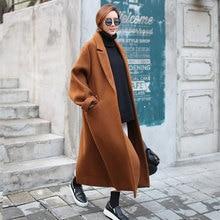 Autumn Winter Loose Long Cocoon Caramel Coat Korean Retro Cloak Double Faced Short 2019 new coat and  Jackets women