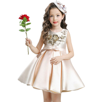 2017 Christmas Party Girls Dress Kids Clothing Princess Birthday Party Infant Wedding Dresses Girl Red Champagne
