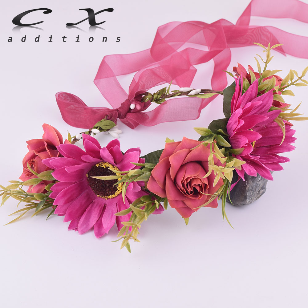 CXADDITIONS sunflower rose bride headdress Flower crown Wreath rose ...