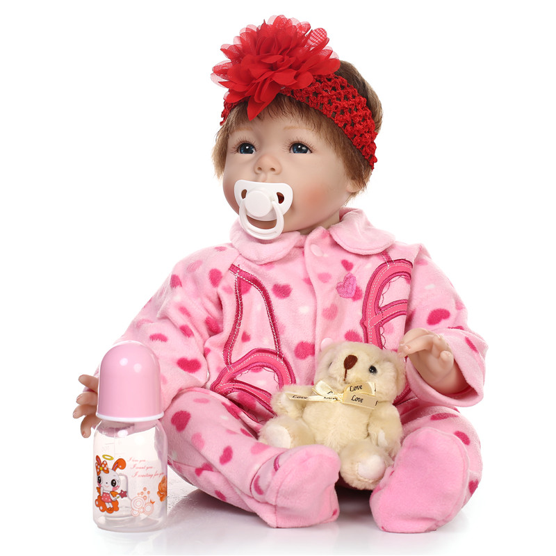 lifelike Silicone reborn baby dolls with bear toys accompany newborn babies sleeping doll Christmas birthday gift brinquedos toy silicone reborn baby doll toy lifelike reborn baby dolls children birthday christmas gift toys for girls brinquedos with swaddle