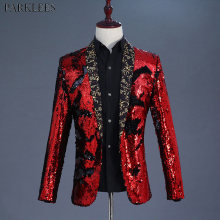 Shiny Red Sequin Shawl Collar Tuxedo Suit Blazer Men Wedding Groom Singer Prom Glitter Suit Jacket DJ Club Stage Blazer Hombre(China)