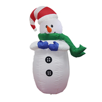 120cm 4ft Giant Snowman Inflatable Toys LED Lighted Christmas Halloween Oktoberfest Party Props Yard Outdoor Blow