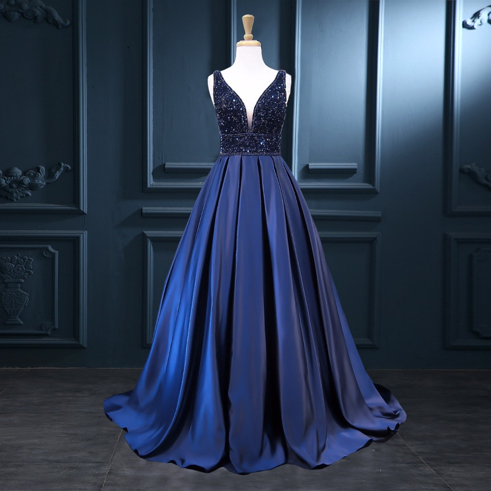 Deep V-Neck Beaded Prom Dresses 2017 Sexy Backless Navy ...