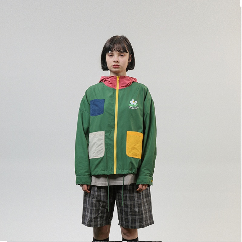 2019Vintage Spring Autumn Original Design Women   Basic     Jacket   Windbreaker Stand Collar Green Zipper Ladies Outwear Coats For Men