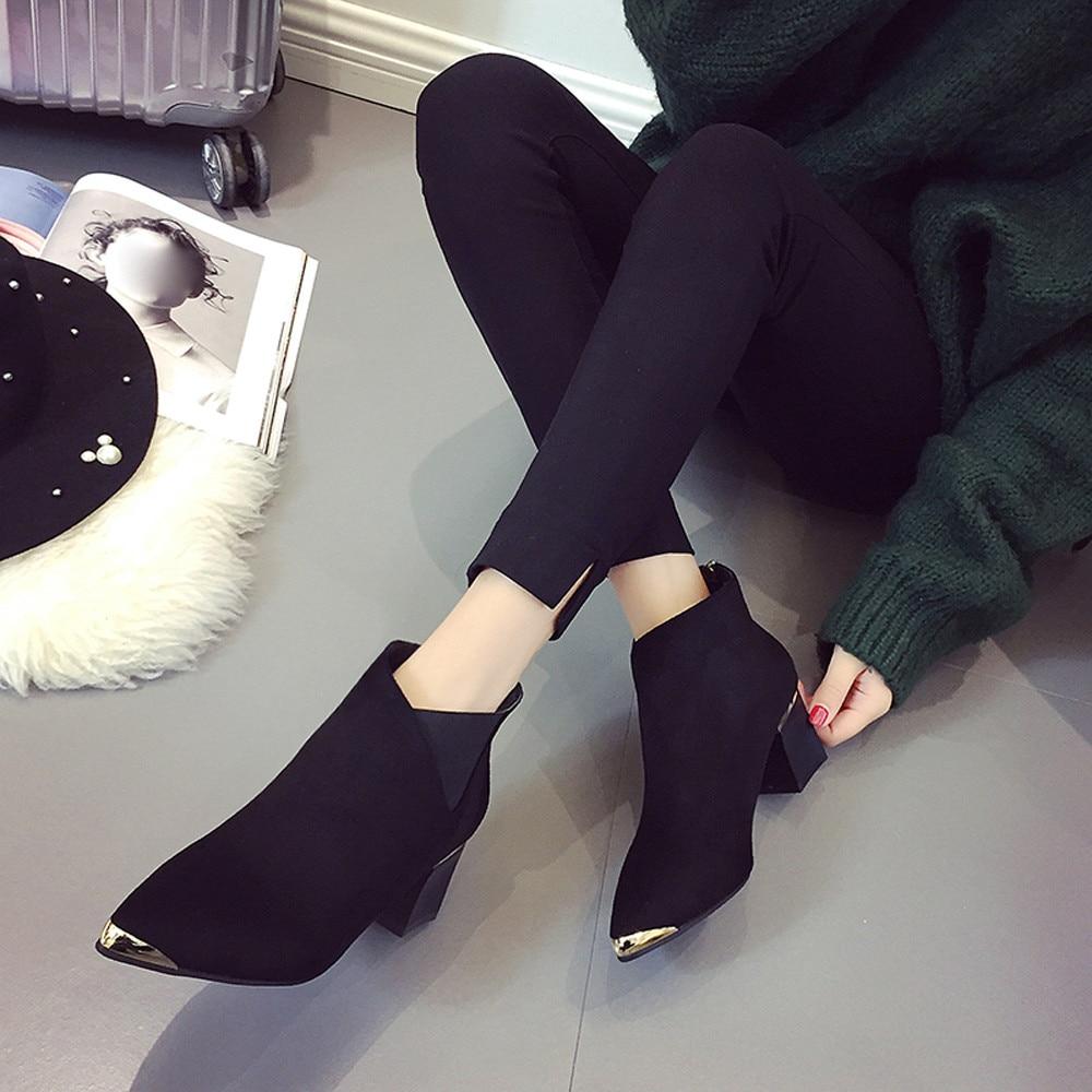 Del Pie Casuales Puntiagudo Botas Cortas 2018 Tacón Invierno Corta Las khaki De Black Tobillo Zapatos Dedo Mujeres Rebaño SzqqwpAxB