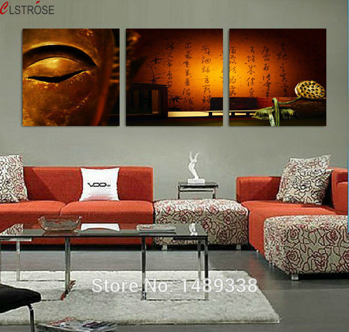CLSTROSE Sale 3 Panel Wall Art Modern For Buddha Painting Home Decoration Print On Canvas Picture For Living Room Decor Unframed
