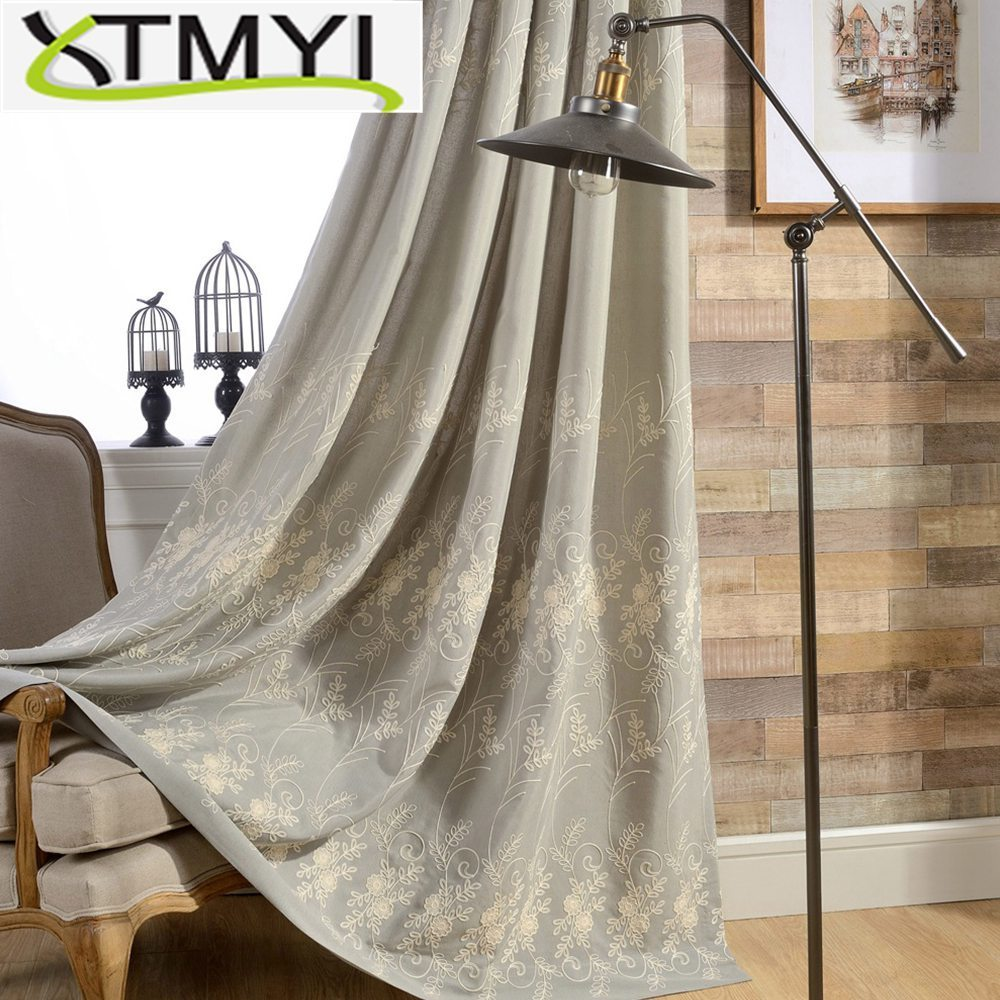 Embroidered Curtain Withr Rural branch Type Multicolor Embroidery French Window Pastoral Floral Curtains Living Room