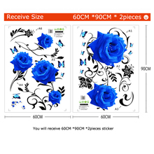 Large Blue Rose Flowers Background Wall Sticker, DIY Mural art Decals