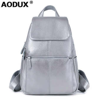 Fast Shipping 100% Real Genuine Leather Silver White Gray Women's Backpack Girl's Female Top Layer Cow Leather Casual Backpacks - DISCOUNT ITEM  56% OFF All Category