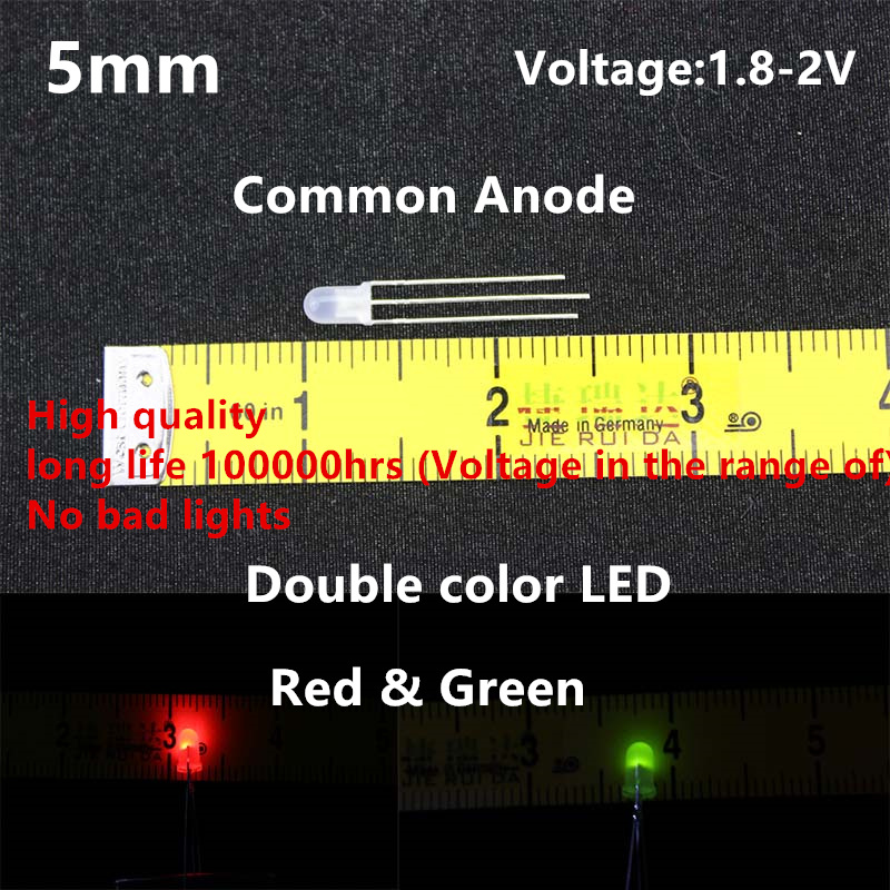 High quality 20pcs LED 5mm Round Diffused Red & Green double Color Common Anode LED Diode Light Emitting Diode led light lighting diodes 10 20 50 100pcs rgb common cathode 5mm rgb led common cathode 4 pin tri color emitting diode