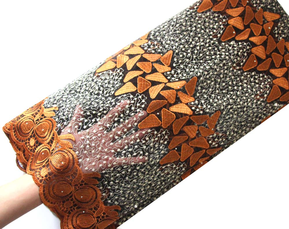 coffee gold african lace fabric
