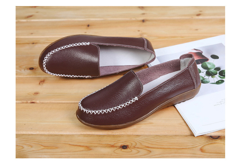 XY 518-2019 Genuine Leather Women's Shoes Soft Woman Loafers-11