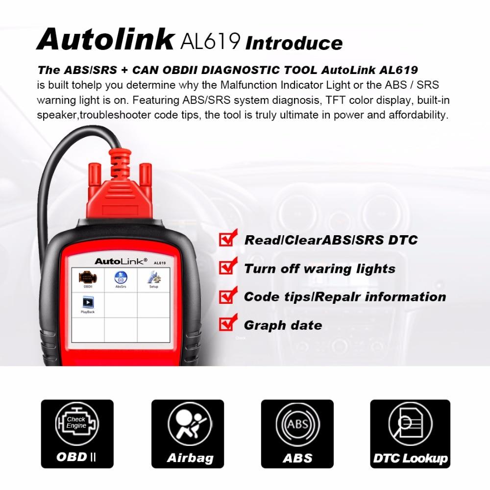 Autel AL619 OBD2 Scanner Car Code Reader Engine,ABS,SRS Auto Diagnostic  Scan Tool AL619 Diagnostic Tool Automotive Scanner