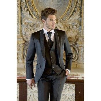 Top Selling New bruiloft Tuxedos Men Suit 2017 terno slim fit Black Groom Bridegroom mens Suits (Jacket+Pants+vest+tie)