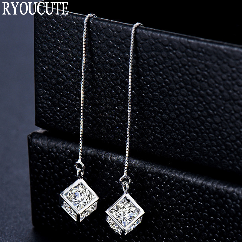 RYOUCUTE New Arrivals Silver Color  Long Stud Earrings For Women Brincos Pendientes