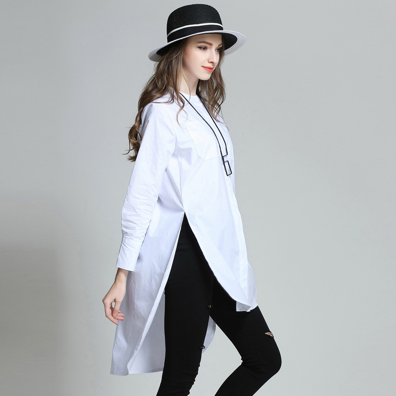 221f17620b1 Women Plain Oversize Shirts Long Sleeve Asymmetrical Plus Size Cotton Shirt  With Slits XL to 4xl-in Blouses   Shirts from Women s Clothing on  Aliexpress.com ...