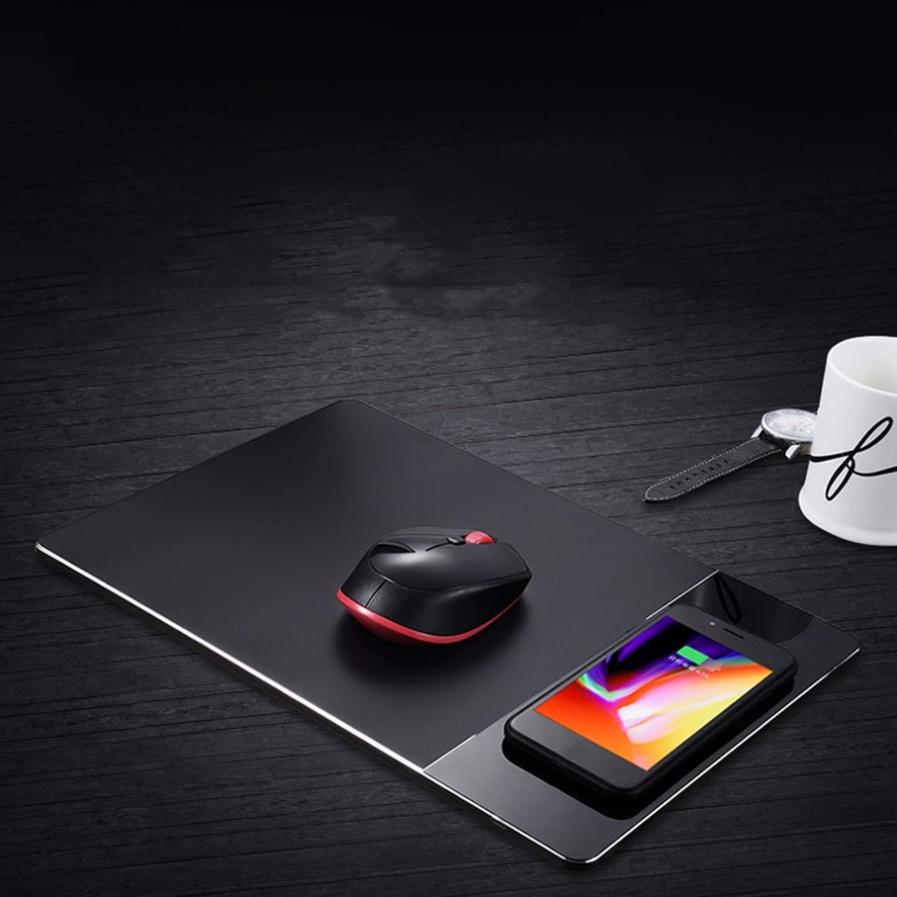 Wireless Charge Computer Mouse Pad Charging Mobile Phone For iPhone 8 X for Samsung S8 Series Dual No Slipping Mouse Pad Charger зарядное устройство satechi wireless charging pad для iphone 8 8 plus x rose gold st wcpr