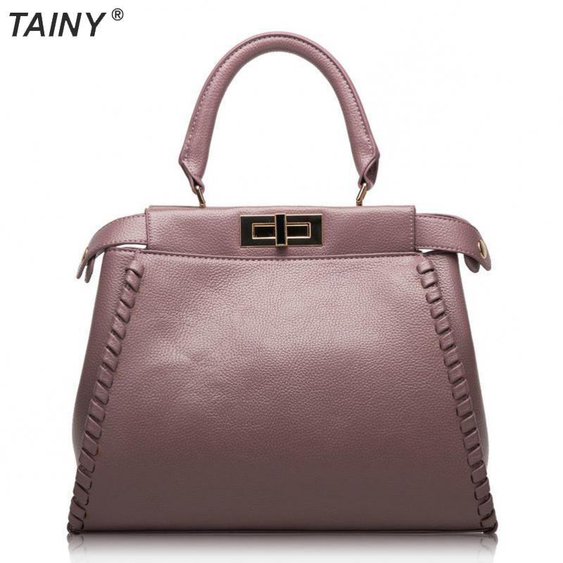 TAINY 2017 New Genuine Leather Peekaboo Style Women Totes Handbag Shoulder Crossbody Bags 32cm