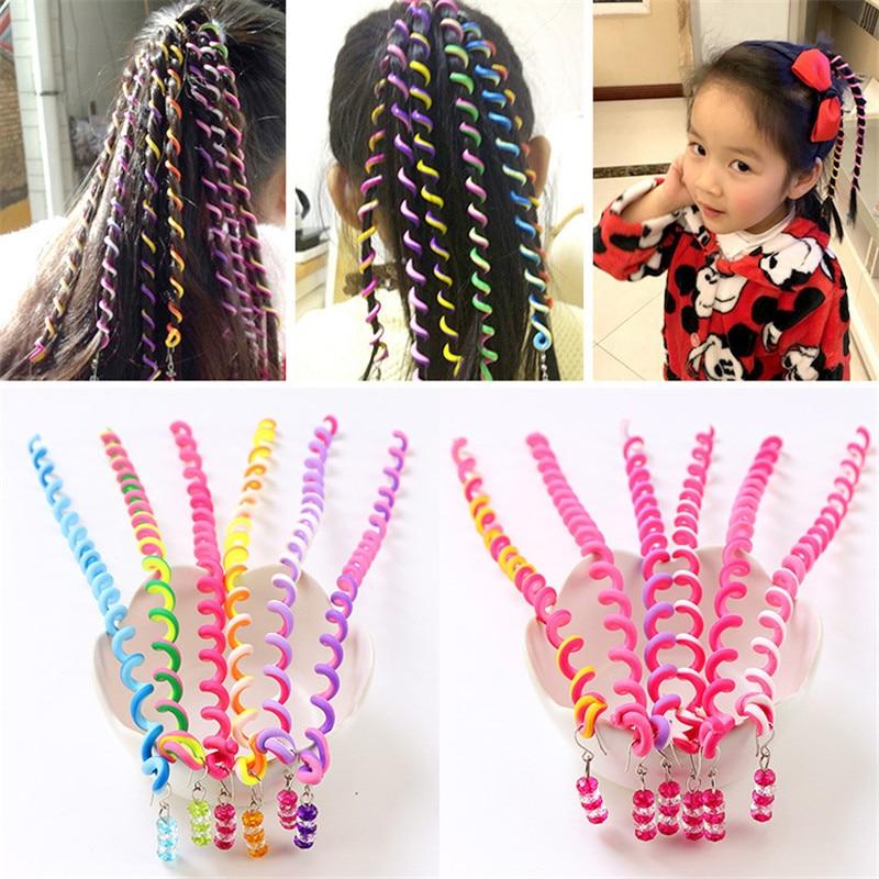 6PCS / a lot Rainbow Color Hair Accessories Synthetic Spiral Curls DIY Tools Children Girls Headwear Spiral Twist Hair Braiders