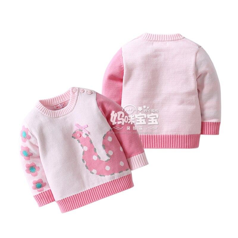 Новый 2016 Осень детские свитера для девочек одежда детей вязаный свитер дети хлопок розовый все матч принцесса Трикотаж пальто