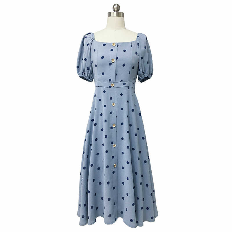 793d96e85249b Flectit French Women 80s Vintage Polka Dot Dress Button Up Puff Sleeve  Square Collar High Waist Long Dress Retro Holiday Dress *