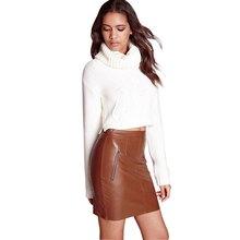 Fashion 2016 Women Soft PU Leather Skirt High Waist Slim Hip Pencil Skirts Bodycon Saias Midi Skirt Sexy Clubwear Skirt