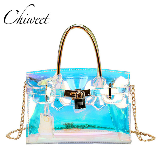 Women Laser Holographic Beach Bag Transpa Jelly Shoulder Handbags Brand Lock Small Totes Colorful Chain