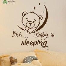 YOYOYU Vinyl Wall Decal Shh Baby Is Sleeping Moon And Stars Cute Bear Kids Room Bedroom Home Decoration Stickers FD290