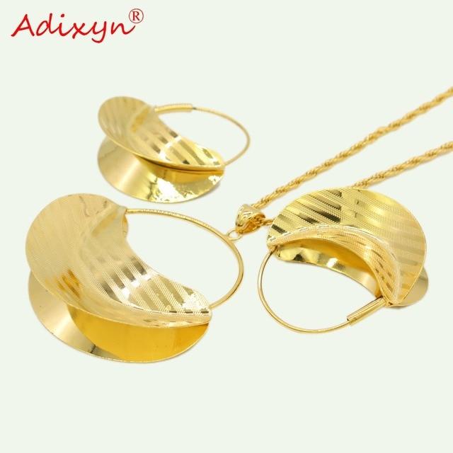 Adixyn PNG תיק שרשרת/עגילים/תליון תכשיטי סט לנשים זהב צבע/נחושת אפריקאי/האתיופית חתונה /המפלגה מתנות N11011