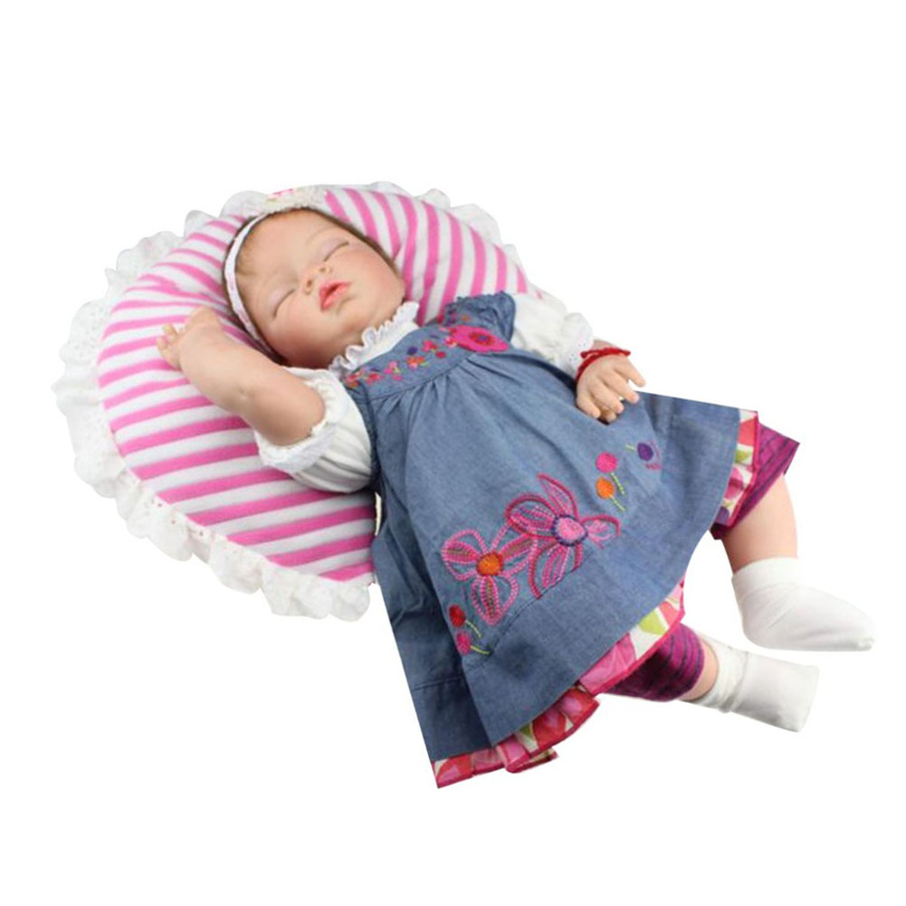 NPK 55cm Simulation Baby Reborn Doll Silicone Lifelike Sleeping Girl Children Toy Photograph Props M09