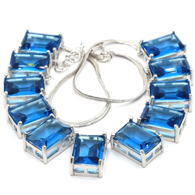 Luxe grand lourd 70g Rectangle topaze bleu londres cadeau 925 argent collier 17.5-18.0