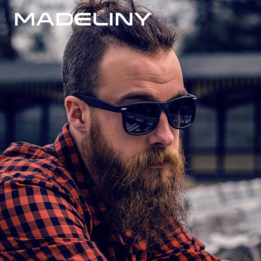 MADELINY Fashion Classics Sunglasses Men Polarized Sun Glasses Men Retro Rivet Glasses Coating Points Black Frame Eyewear MA175