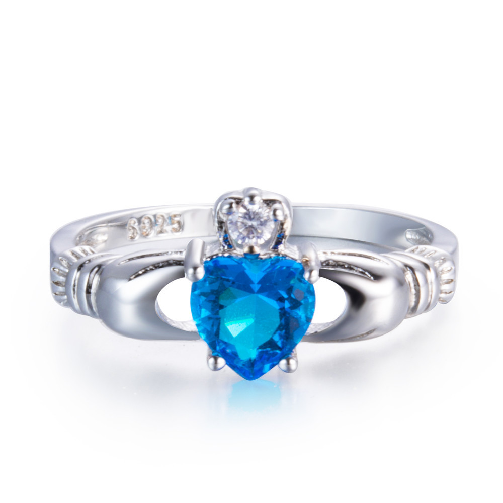 Fashion Charms Engagement Wedding Heart Rainbow Opal Stone Claddagh Promise Ring Statement Women Jewelry Box Valentines Gifts