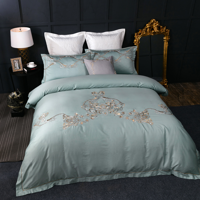 Luxury Golden And Silver Embroidered Duvet Cover Set 4pcs