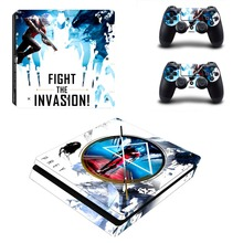 PS4 Slim Console and Controllers Skin Set Vinyl Decal Sticker for Playstation 4 Slim Console – Fight the Invasion