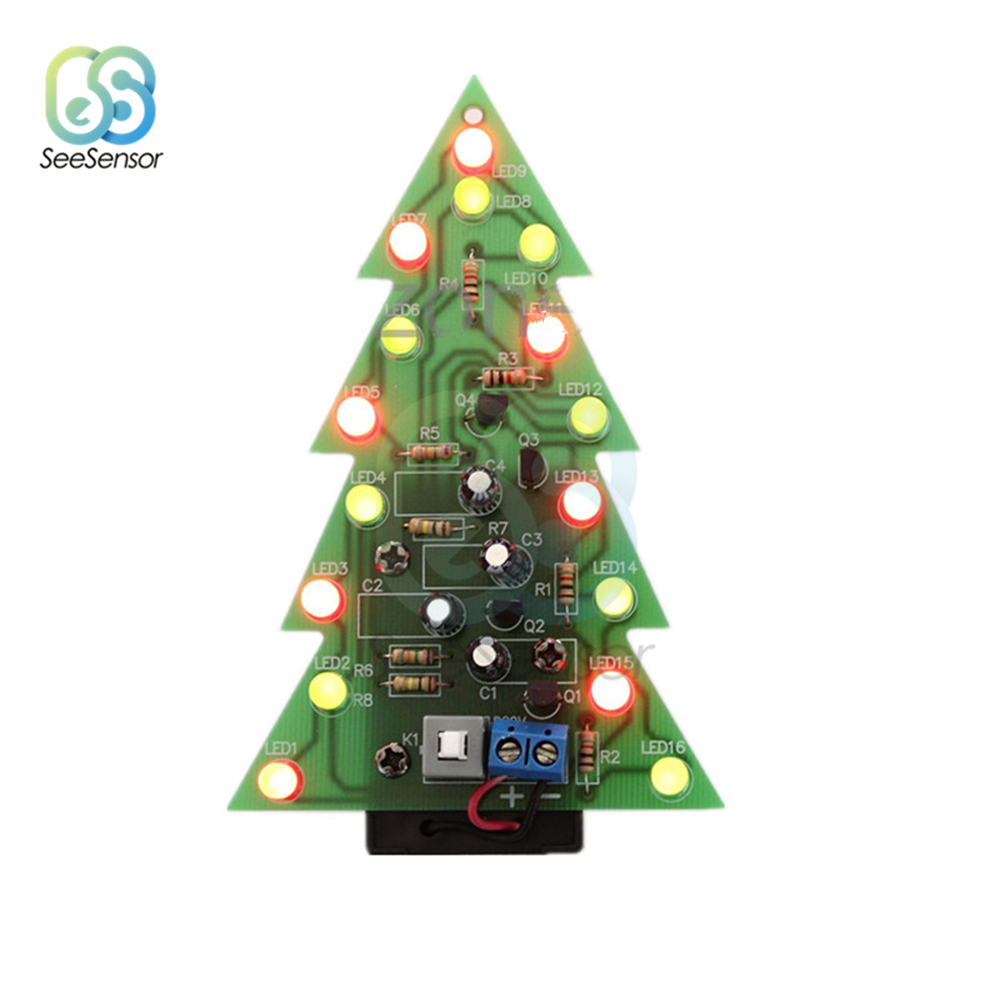 Christmas Tree LED DIY Kit Red Green Flash Light LED Flash Circuit Kit Electronic Fun Suite Holiday Decoration in Trees from Home Garden