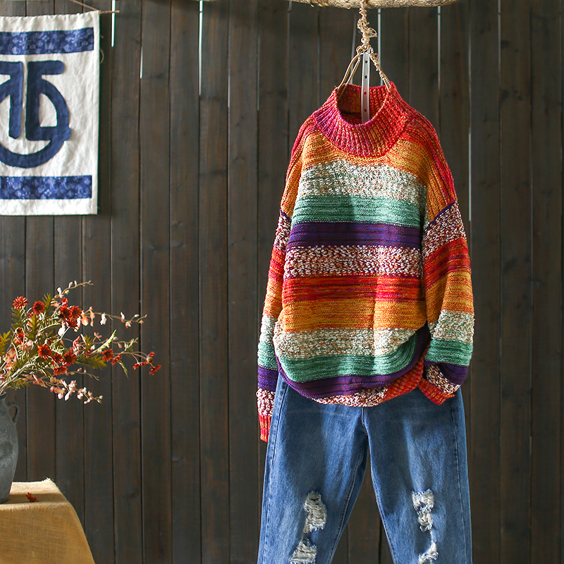 Fashion Mixed Color Rainbow Pullover Semi high Collar Loose Knitwear Outerwear Autumn Winter Retro Womens Sweaters