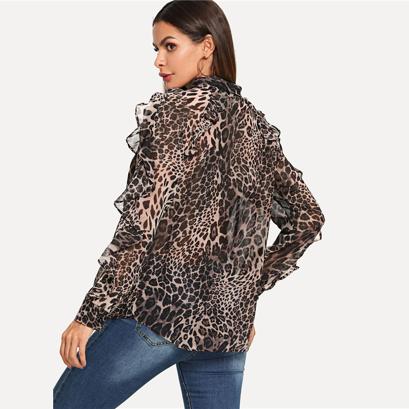 COLROVIE Leopard Elegant Ruffle Trim Knot Women Blouse Shirt 2018 Autumn Streetwear Fashion Ladies Tops And Work Blouses 5