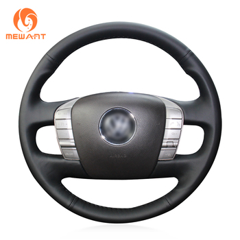 MEWANT Black Genuine Leather Comfortable Soft Durable Hand Sew Wrap Car Steering Wheel Cover for Volkswagen VW Phaeton 2011-2015