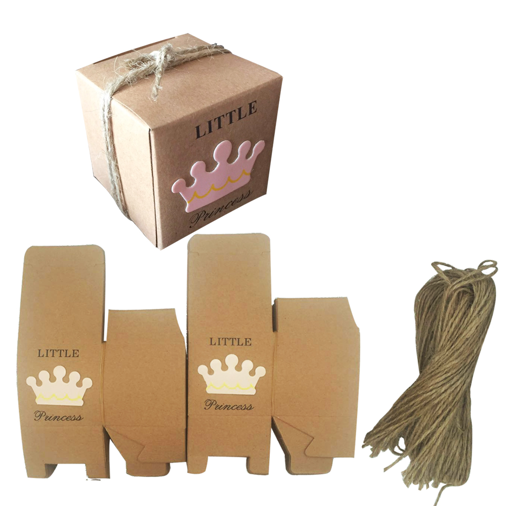 50pcs Little Prince Princess Square Crown Kraft Paper Baby Shower Candy Box Party Gift Boxes Girl Boy Kids Birthday Favors Box